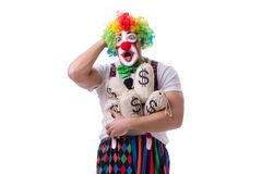The funny clown with money sacks bags isolated on white background Royalty Free Stock Images