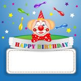 Funny clown over star background. With place for text on blue background Stock Photos