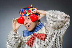 The funny clown with red nose Stock Image