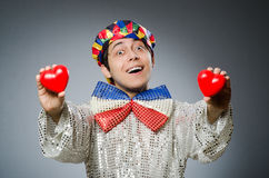 The funny clown with red nose Stock Photo