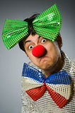 The funny clown with red nose Stock Photos