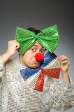 Funny clown with red nose Stock Photography