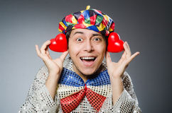 Funny clown with red nose Stock Images