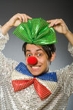 The funny clown with red nose Stock Photography