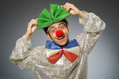 Funny clown with red nose Stock Photos