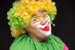 Funny clown in shiny glasses with good cheerful emotions Stock Images