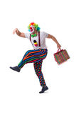 The funny clown with shopping bags isolated on white background Stock Images