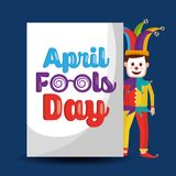 Funny clown standing with lettering april fools day. Vector illustration Stock Photos