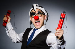 Funny clown with sticks Royalty Free Stock Images