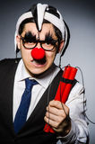 Funny clown with sticks Stock Photography