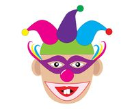 Funny clown with two teeth. Vector illustration.  Stock Photo