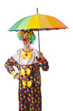 Funny clown on white Stock Photo