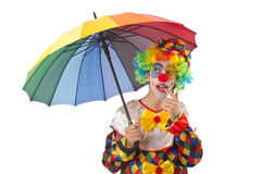 Funny clown on  white Stock Photography