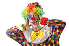 Funny clown on  white Royalty Free Stock Photography