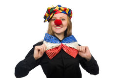 The funny clown on white Stock Photo