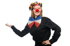 The funny clown on white Stock Image