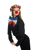 The funny clown on white Royalty Free Stock Photography