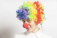Funny clown woman, female Royalty Free Stock Image
