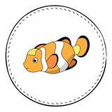 Funny clownfish isolated on white background. Coral fish Clown cartoon  illustration. Royalty Free Stock Photography