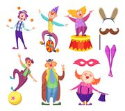 Funny clowns characters and different circus accessories. Character cartoon clown, comedian and jester performance in costume, vector illustration Stock Images