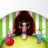 Funny clowns at the circus festival. With entertainment tools Stock Photos