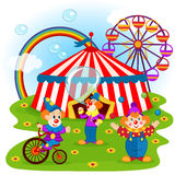 Funny clowns and circus Stock Photo