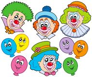 Funny clowns collection. Illustration Stock Image