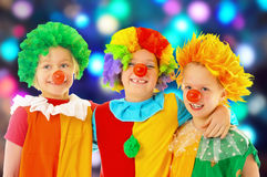 Funny clowns. At the party Royalty Free Stock Photos