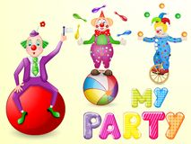 Funny clowns at party. With entertainment tools on white background Royalty Free Stock Photo