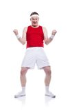 Funny clumsy sportsman Stock Photography