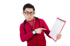 Funny coach with whistle and diary Royalty Free Stock Photos