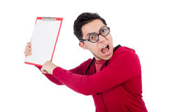 Funny coach with whistle and diary isolated on Stock Photos