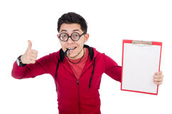 Funny coach with whistle and diary isolated on Stock Images