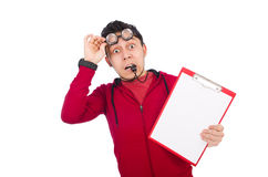 Funny coach with whistle and diary isolated on Royalty Free Stock Photography
