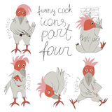 Funny cock- icons part four. The fourth series of funny Cockerell Stock Photo