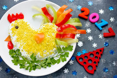 Funny or rooster salad symbol New Year 2017 Royalty Free Stock Photography