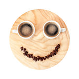 Funny coffee break concept on wooden background isolated on whit Stock Photo