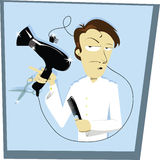 Funny Coiffeur. A funny vector cartoon representing a hair stylist Royalty Free Stock Photography