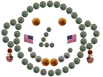 Funny coin smiley celebrating Independence Day. Funny coin smiley celebrating 4th of July Stock Photography