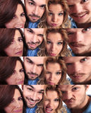 Funny collage of young people making faces. Wide angle shots Royalty Free Stock Photo
