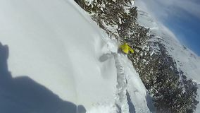 Funny collapse of amateur snowboarders, friends having fun, winter vacation. Stock footage stock video