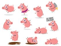 Collection of a cartoon pig. Funny collection of a cartoon pig vector illustration