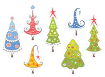 Funny collection of Christmas trees Royalty Free Stock Photo