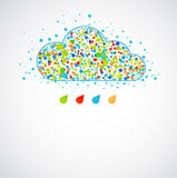 Funny color cloud. Spring color rain. Stock Photos