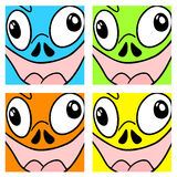 Funny color faces Stock Photo