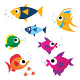 Funny color Fish. Color Fish. Yellow, pink, orange, red, green funny fish stock illustration