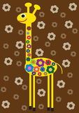 Funny color illustration of flower giraffe Royalty Free Stock Image