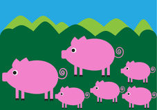 Funny color illustration of pig family walking in Stock Photos