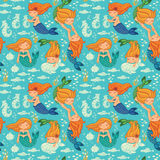 Funny color seamless pattern with mermaids Royalty Free Stock Images