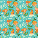 Funny color seamless pattern with mermaids Stock Photo